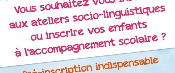 Les centres sociaux mettent en place cette année des pré-inscriptions pour les ateliers socio-linguistiques pour la rentrée 2016-2017.